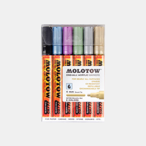 Набор маркеров MOLOTOW 227HS  6шт. Metallic Kit